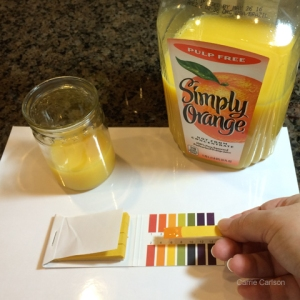 orange juice pH test