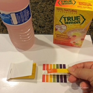 True Lemon Raspberry Lemonade drink mix pH test